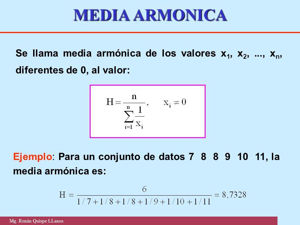 MEDIA ARMONICA Se llama media armónica de los valores x 1, x 2,..., x n, diferentes de 0, al valor: Ejemplo: Para un conjunto de datos 7 8 8 9 10 11,