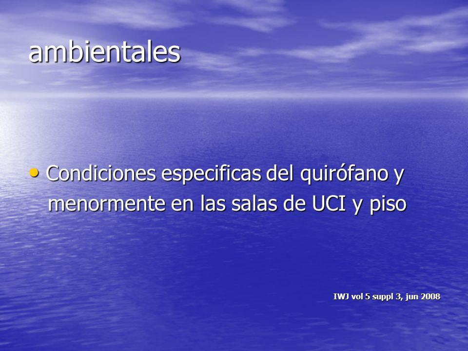ambientales Condiciones especificas del quirófano y Condiciones especificas del quirófano y menormente en las salas de UCI y piso menormente en las sa