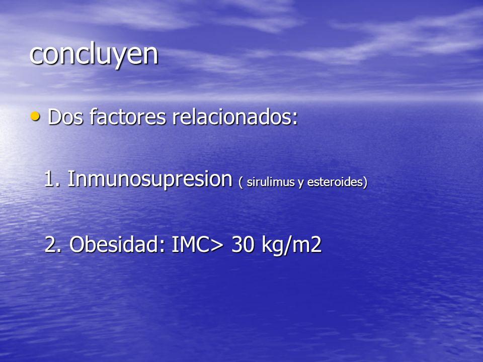 concluyen Dos factores relacionados: Dos factores relacionados: 1. Inmunosupresion ( sirulimus y esteroides) 1. Inmunosupresion ( sirulimus y esteroid