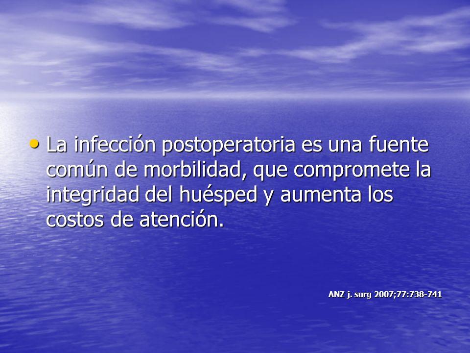 La infección postoperatoria es una fuente común de morbilidad, que compromete la integridad del huésped y aumenta los costos de atención. La infección