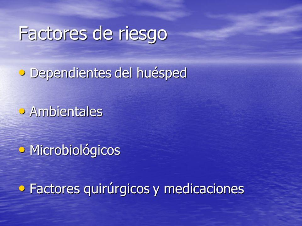 Factores de riesgo Dependientes del huésped Dependientes del huésped Ambientales Ambientales Microbiológicos Microbiológicos Factores quirúrgicos y me
