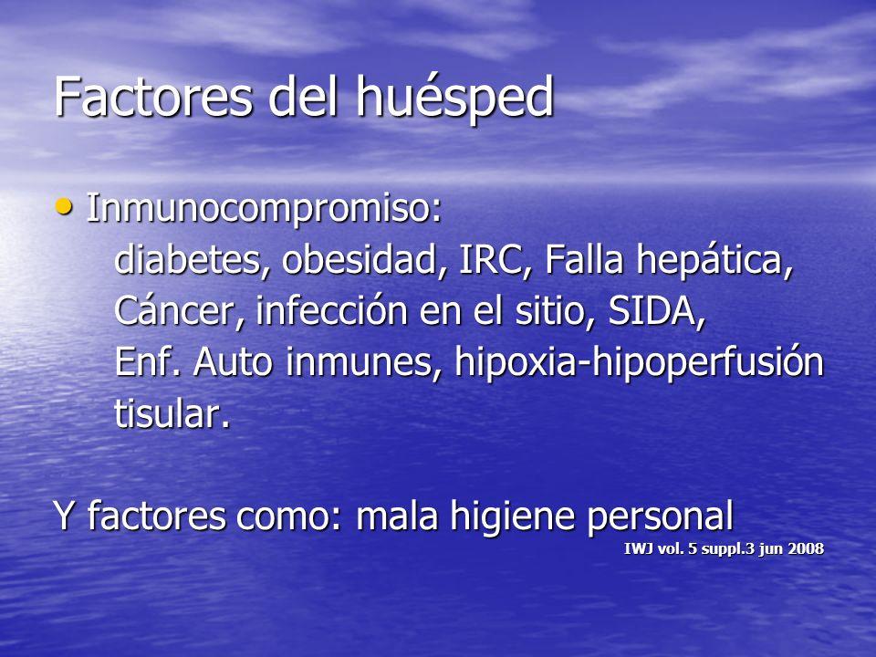 Factores del huésped Inmunocompromiso: Inmunocompromiso: diabetes, obesidad, IRC, Falla hepática, diabetes, obesidad, IRC, Falla hepática, Cáncer, inf