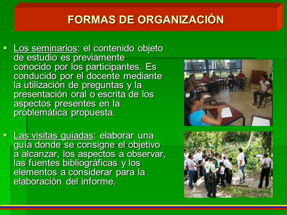FORMAS DE ORGANIZACIÓN Los seminarios: el contenido objeto de estudio es previamente conocido por los participantes. Es conducido por el docente media