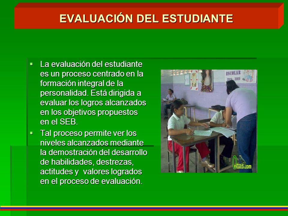 EVALUACIÓN DEL ESTUDIANTE La evaluación del estudiante es un proceso centrado en la formación integral de la personalidad. Está dirigida a evaluar los
