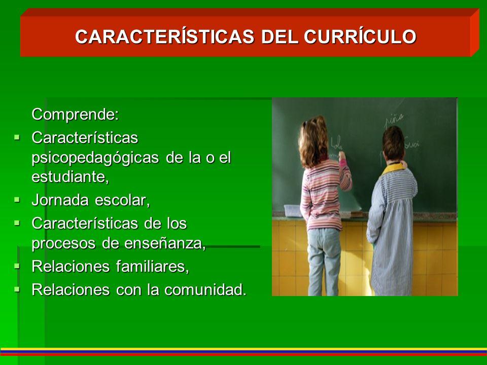 Comprende: Características psicopedagógicas de la o el estudiante, Características psicopedagógicas de la o el estudiante, Jornada escolar, Jornada es
