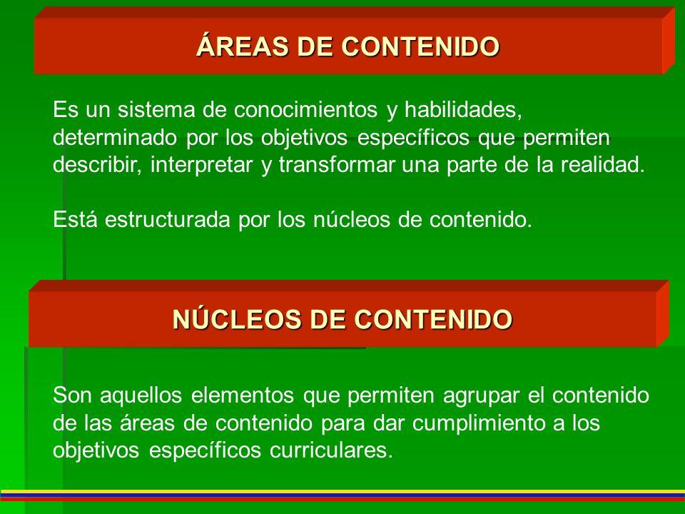 ÁREAS DE CONTENIDO NÚCLEOS DE CONTENIDO Es un sistema de conocimientos y habilidades, determinado por los objetivos específicos que permiten describir