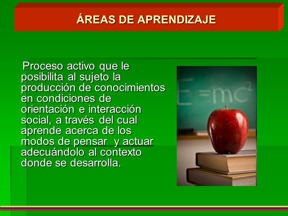 ÁREAS DE APRENDIZAJE Proceso activo que le posibilita al sujeto la producción de conocimientos en condiciones de orientación e interacción social, a t