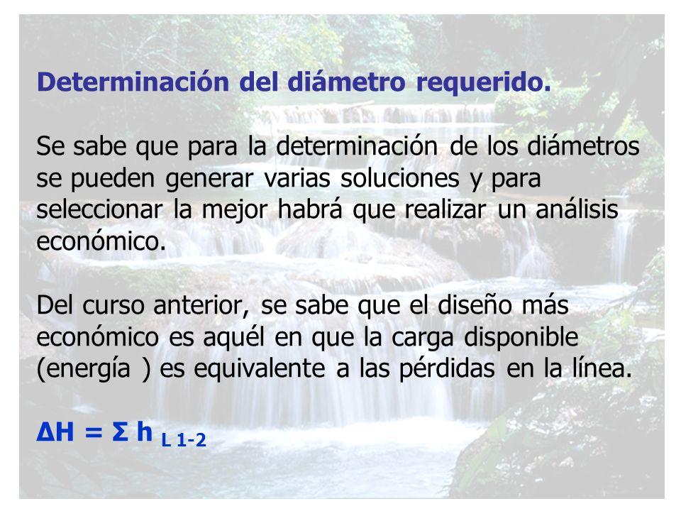 Determinación del diámetro requerido. Se sabe que para la determinación de los diámetros se pueden generar varias soluciones y para seleccionar la mej