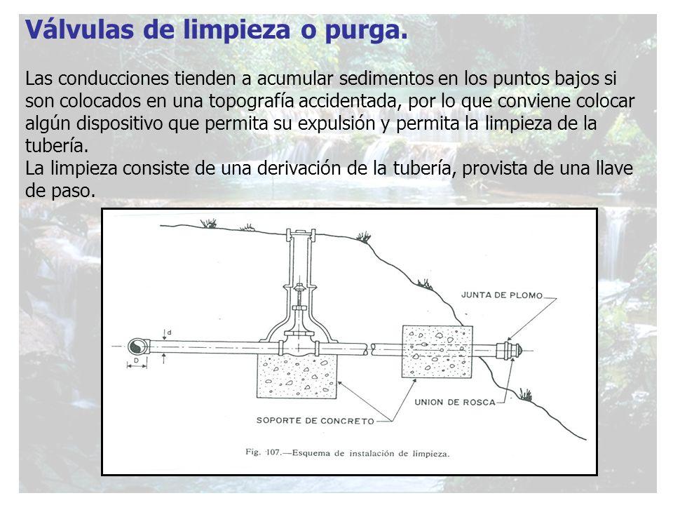 Válvulas de limpieza o purga. Las conducciones tienden a acumular sedimentos en los puntos bajos si son colocados en una topografía accidentada, por l