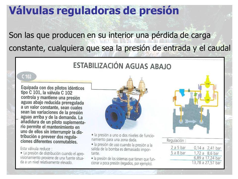 Válvulas reguladoras de presión Son las que producen en su interior una pérdida de carga constante, cualquiera que sea la presión de entrada y el caud