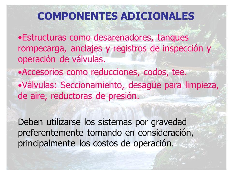 COMPONENTES ADICIONALES Estructuras como desarenadores, tanques rompecarga, anclajes y registros de inspección y operación de válvulas. Accesorios com
