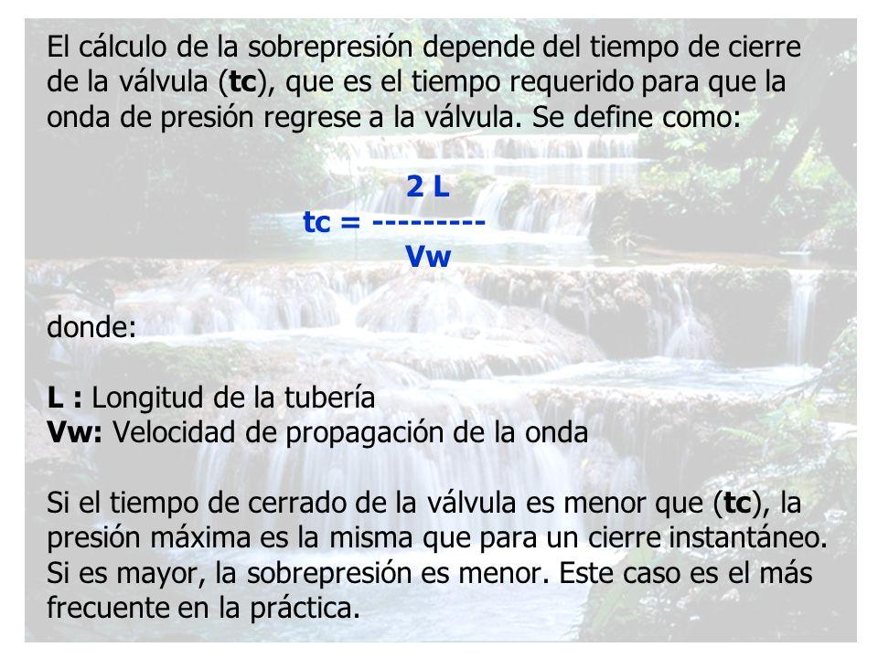 El cálculo de la sobrepresión depende del tiempo de cierre de la válvula (tc), que es el tiempo requerido para que la onda de presión regrese a la vál