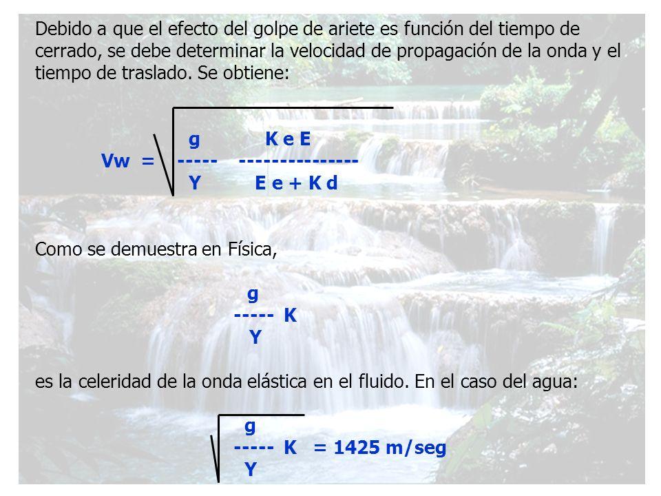 Debido a que el efecto del golpe de ariete es función del tiempo de cerrado, se debe determinar la velocidad de propagación de la onda y el tiempo de