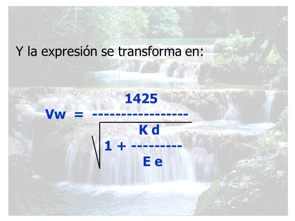 Y la expresión se transforma en: 1425 Vw = ----------------- K d 1 + --------- E e