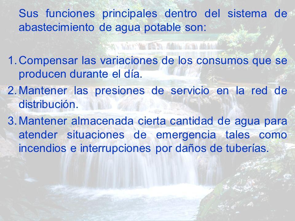 Sus funciones principales dentro del sistema de abastecimiento de agua potable son: 1. 1.Compensar las variaciones de los consumos que se producen dur