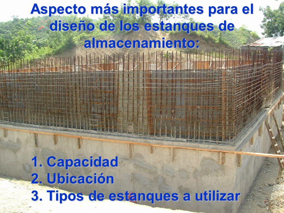 Aspecto más importantes para el diseño de los estanques de almacenamiento: 1. Capacidad 2. Ubicación 3. Tipos de estanques a utilizar