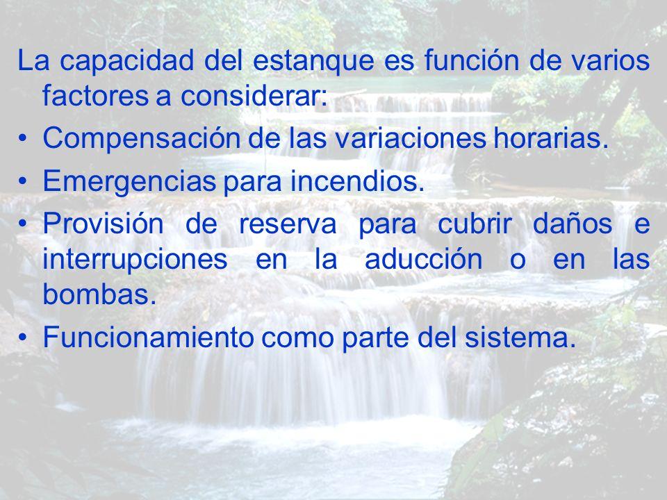 La capacidad del estanque es función de varios factores a considerar: Compensación de las variaciones horarias. Emergencias para incendios. Provisión
