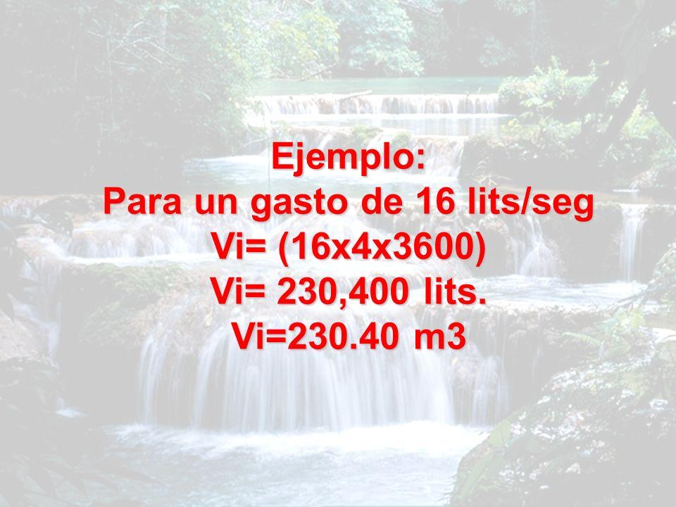 Ejemplo: Para un gasto de 16 lits/seg Vi= (16x4x3600) Vi= 230,400 lits. Vi=230.40 m3