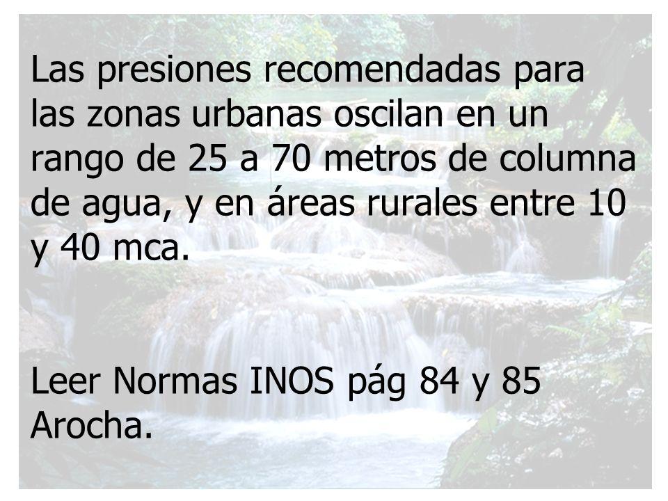 Las presiones recomendadas para las zonas urbanas oscilan en un rango de 25 a 70 metros de columna de agua, y en áreas rurales entre 10 y 40 mca. Leer