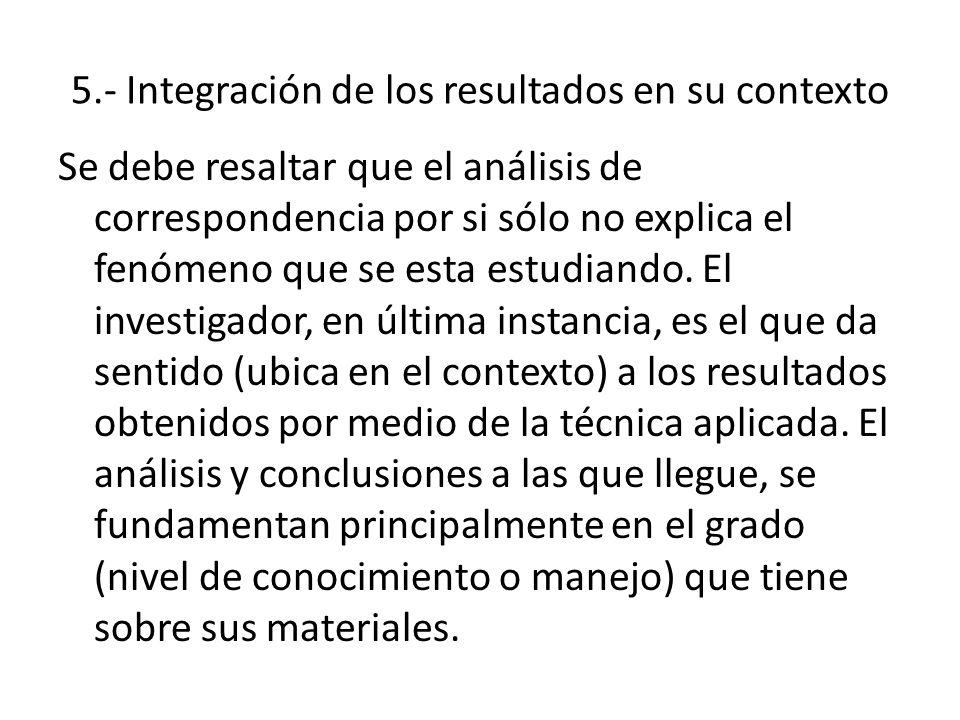 5.- Integración de los resultados en su contexto Se debe resaltar que el análisis de correspondencia por si sólo no explica el fenómeno que se esta es