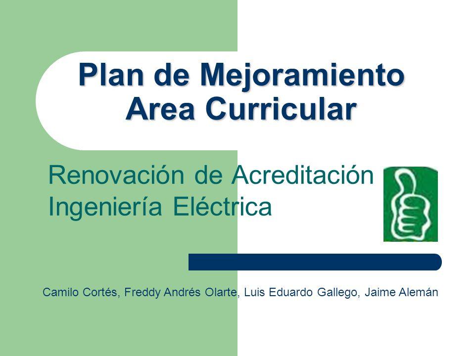 Plan de Mejoramiento Area Curricular Renovación de Acreditación Ingeniería Eléctrica Camilo Cortés, Freddy Andrés Olarte, Luis Eduardo Gallego, Jaime