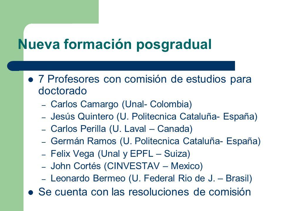 Nueva formación posgradual 7 Profesores con comisión de estudios para doctorado – Carlos Camargo (Unal- Colombia) – Jesús Quintero (U. Politecnica Cat