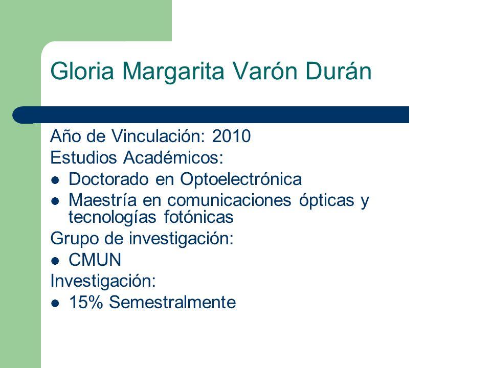 Gloria Margarita Varón Durán Año de Vinculación: 2010 Estudios Académicos: Doctorado en Optoelectrónica Maestría en comunicaciones ópticas y tecnologí