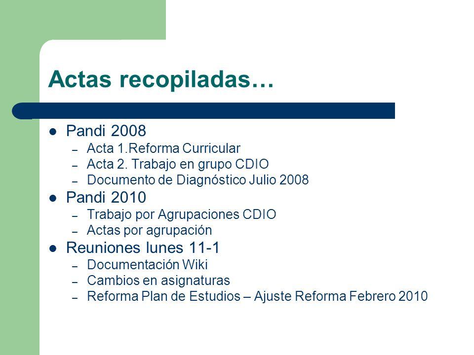 Actas recopiladas… Pandi 2008 – Acta 1.Reforma Curricular – Acta 2. Trabajo en grupo CDIO – Documento de Diagnóstico Julio 2008 Pandi 2010 – Trabajo p