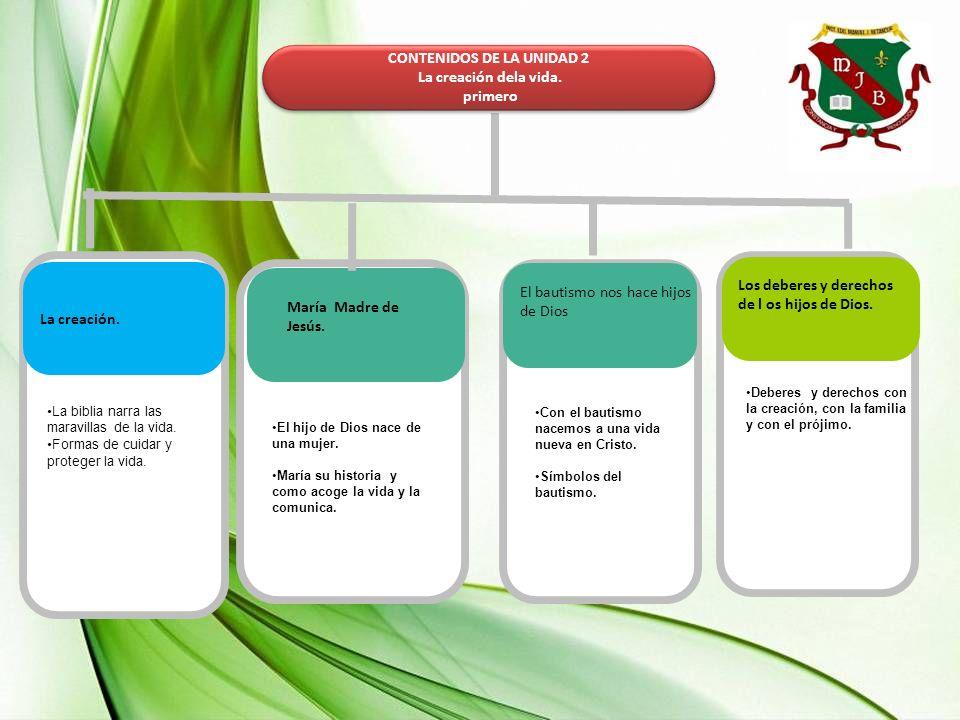 UNIDAD 2 LA CREACIÓN DE LA VIDA GRADO:1 Competencia 2 Competencia 1 N1 a N6 Pensamiento crítico y reflexivo Relación intra e interpersonales Sociales y ciudadanía Competencia 3 Nivel de la competencia 1 Nivel de la competencia 2 Nivel de la competencia 1