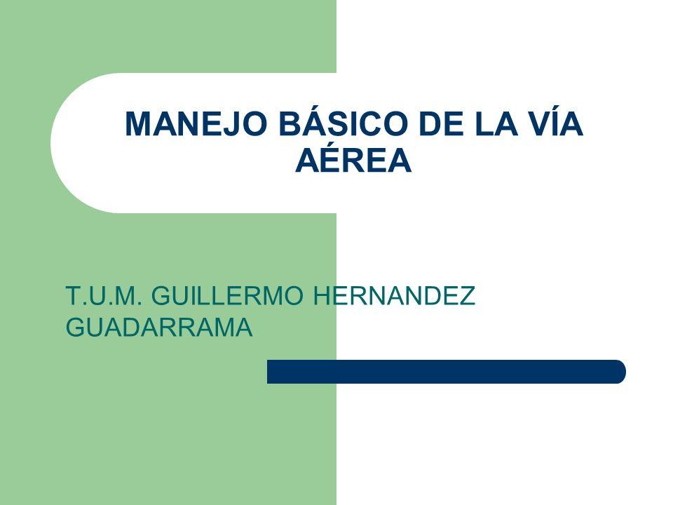 MANEJO BÁSICO DE LA VÍA AÉREA T.U.M. GUILLERMO HERNANDEZ GUADARRAMA