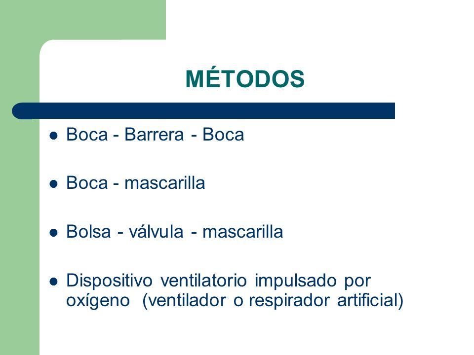 MÉTODOS Boca - Barrera - Boca Boca - mascarilla Bolsa - válvula - mascarilla Dispositivo ventilatorio impulsado por oxígeno (ventilador o respirador a