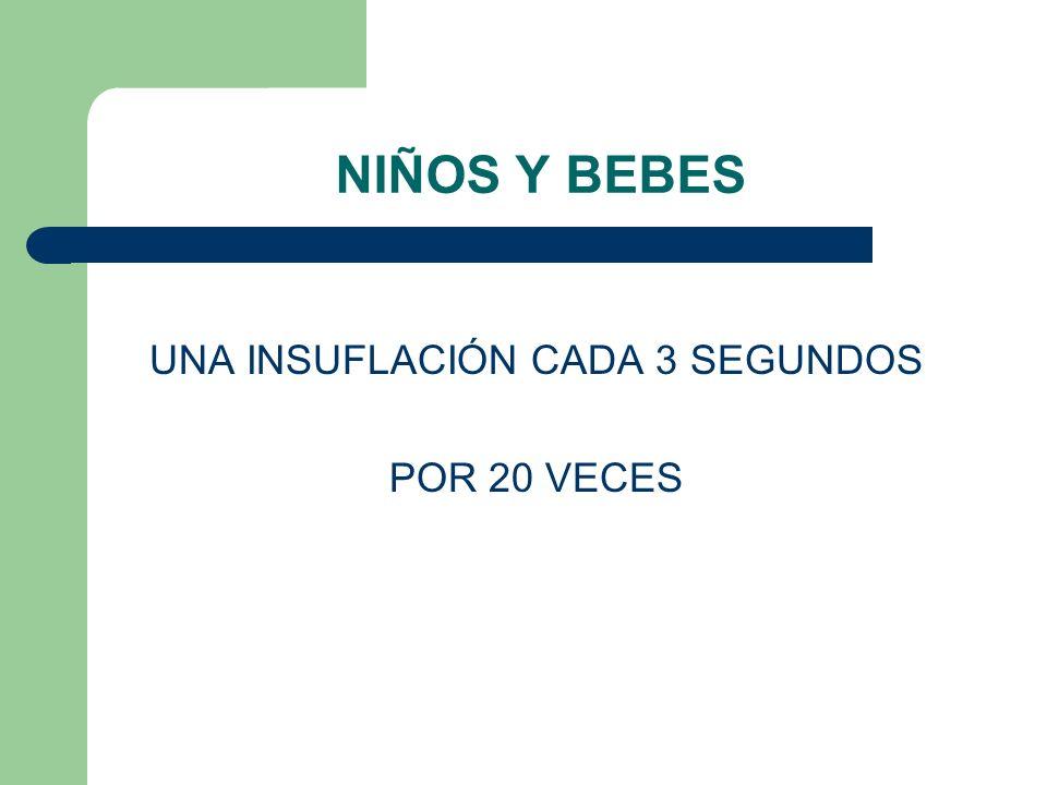 NIÑOS Y BEBES UNA INSUFLACIÓN CADA 3 SEGUNDOS POR 20 VECES