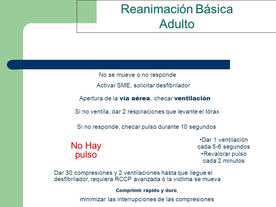 Reanimación Básica Adulto No Hay pulso No se mueve o no responde Activar SME, solicitar desfibrilador Apertura de la vía aérea, checar ventilación Si