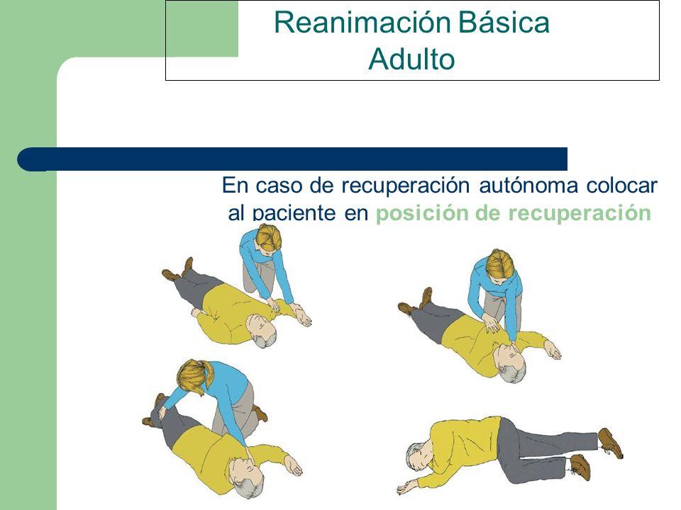 Reanimación Básica Adulto En caso de recuperación autónoma colocar al paciente en posición de recuperación