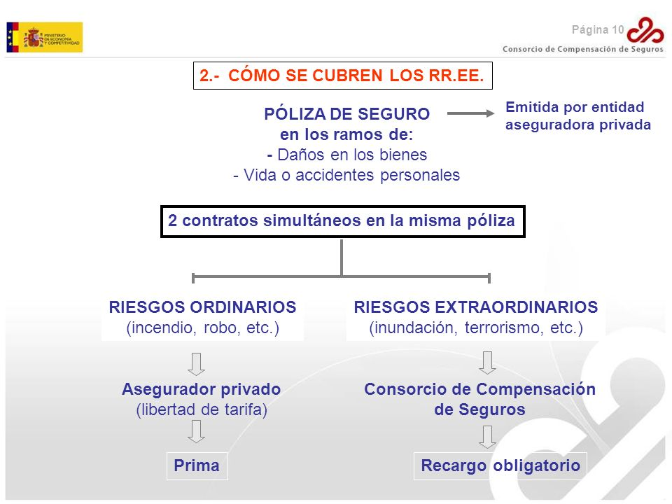 2.- CÓMO SE CUBREN LOS RR.EE. PÓLIZA DE SEGURO en los ramos de: - Daños en los bienes - Vida o accidentes personales 2 contratos simultáneos en la mis