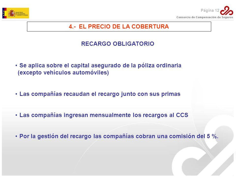 4.- EL PRECIO DE LA COBERTURA RECARGO OBLIGATORIO Se aplica sobre el capital asegurado de la póliza ordinaria (excepto vehículos automóviles) Las comp