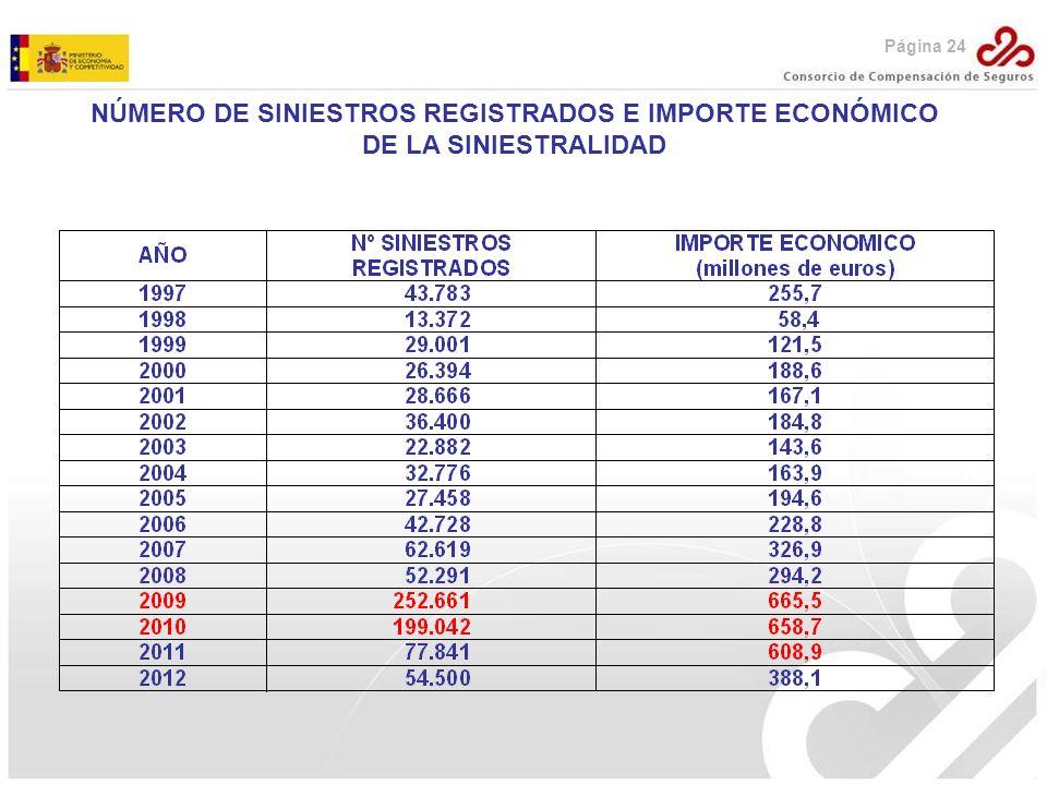 NÚMERO DE SINIESTROS REGISTRADOS E IMPORTE ECONÓMICO DE LA SINIESTRALIDAD Página 24