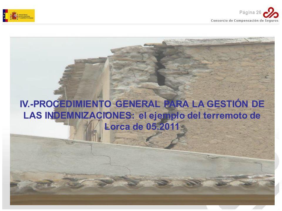 Página 26 IV.-PROCEDIMIENTO GENERAL PARA LA GESTIÓN DE LAS INDEMNIZACIONES: el ejemplo del terremoto de Lorca de 05.2011