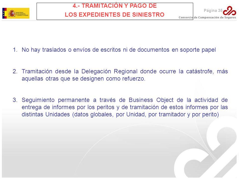 Página 35 4.- TRAMITACIÓN Y PAGO DE LOS EXPEDIENTES DE SINIESTRO 1.No hay traslados o envíos de escritos ni de documentos en soporte papel 2.Tramitaci