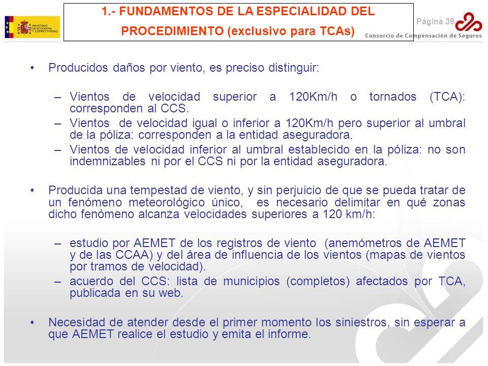 Página 39 1.- FUNDAMENTOS DE LA ESPECIALIDAD DEL PROCEDIMIENTO (exclusivo para TCAs) Producidos daños por viento, es preciso distinguir: –Vientos de v