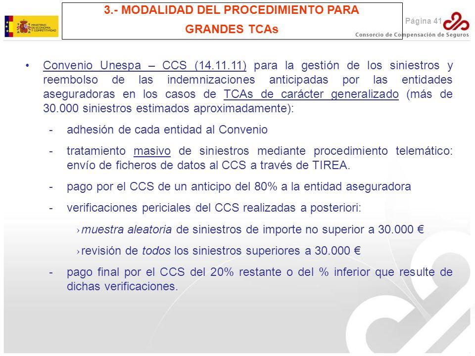 Convenio Unespa – CCS (14.11.11) para la gestión de los siniestros y reembolso de las indemnizaciones anticipadas por las entidades aseguradoras en lo