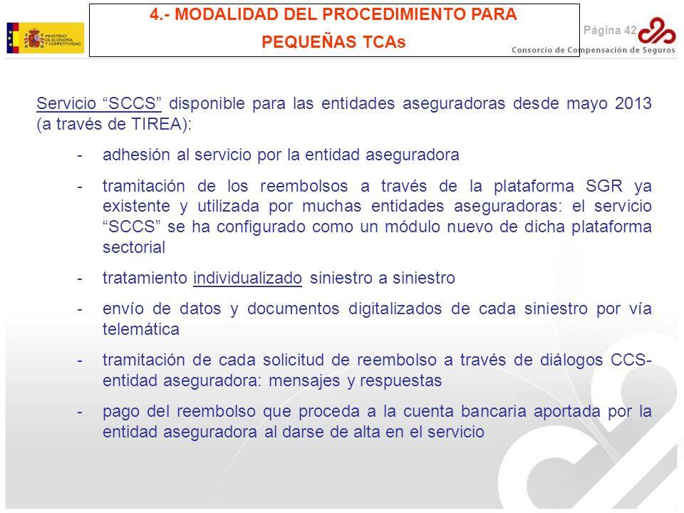 Página 42 4.- MODALIDAD DEL PROCEDIMIENTO PARA PEQUEÑAS TCAs Servicio SCCS disponible para las entidades aseguradoras desde mayo 2013 (a través de TIR