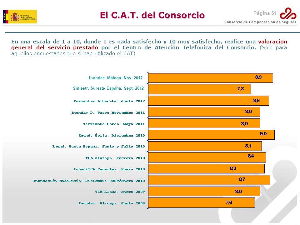 El C.A.T. del Consorcio En una escala de 1 a 10, donde 1 es nada satisfecho y 10 muy satisfecho, realice una valoración general del servicio prestado
