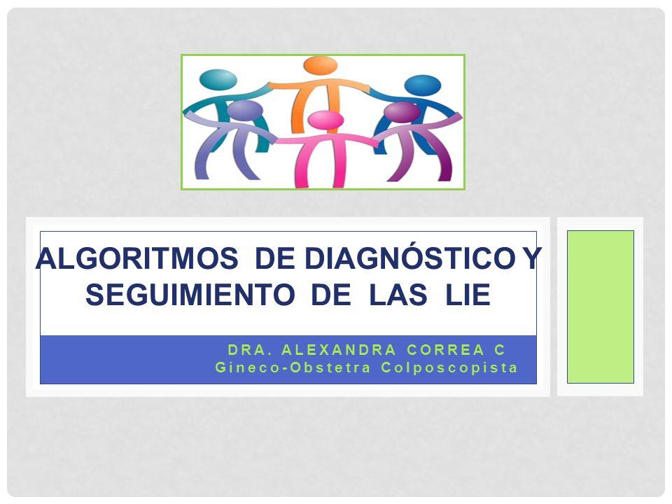 DRA. ALEXANDRA CORREA C Gineco-Obstetra Colposcopista ALGORITMOS DE DIAGNÓSTICO Y SEGUIMIENTO DE LAS LIE