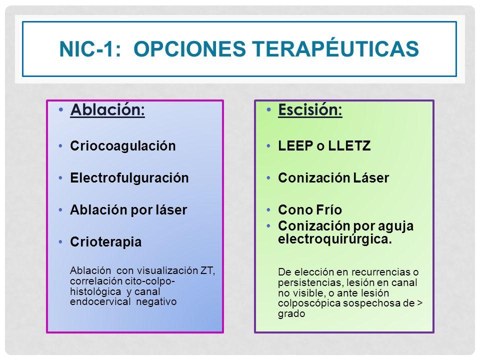 NIC-1: OPCIONES TERAPÉUTICAS Ablación: Criocoagulación Electrofulguración Ablación por láser Crioterapia Ablación con visualización ZT, correlación ci