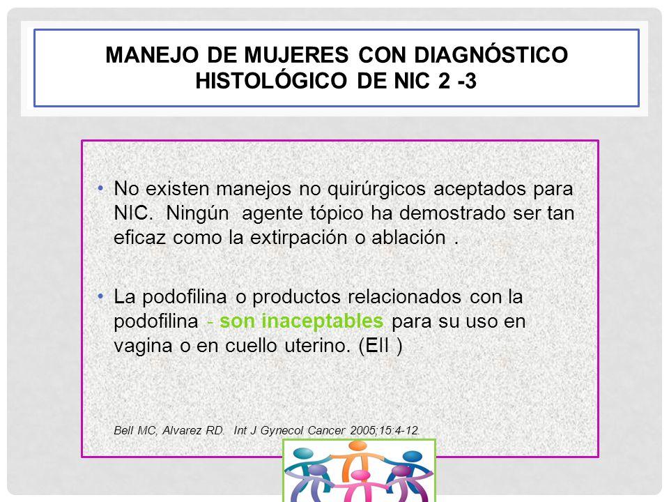 MANEJO DE MUJERES CON DIAGNÓSTICO HISTOLÓGICO DE NIC 2 -3 No existen manejos no quirúrgicos aceptados para NIC. Ningún agente tópico ha demostrado ser