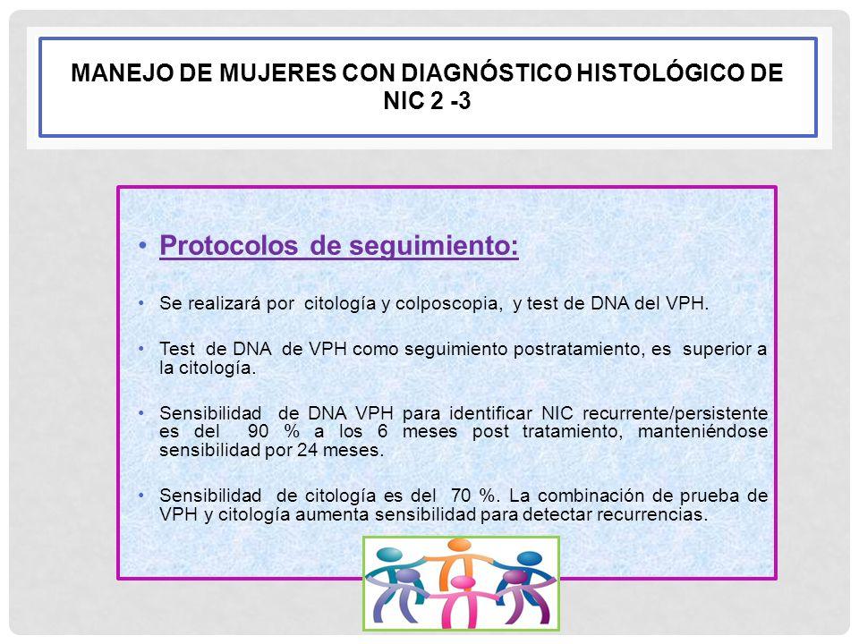 MANEJO DE MUJERES CON DIAGNÓSTICO HISTOLÓGICO DE NIC 2 -3 Protocolos de seguimiento: Se realizará por citología y colposcopia, y test de DNA del VPH.