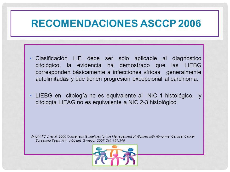 RECOMENDACIONES ASCCP 2006 Clasificación LIE debe ser sólo aplicable al diagnóstico citológico, la evidencia ha demostrado que las LIEBG corresponden