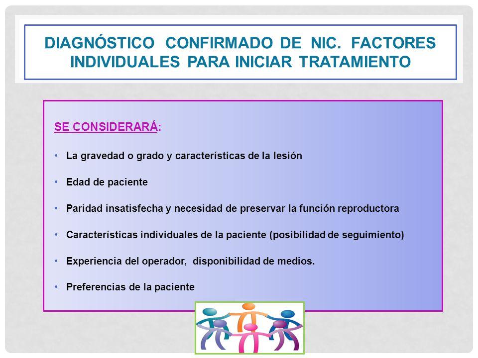 DIAGNÓSTICO CONFIRMADO DE NIC. FACTORES INDIVIDUALES PARA INICIAR TRATAMIENTO SE CONSIDERARÁ: La gravedad o grado y características de la lesión Edad
