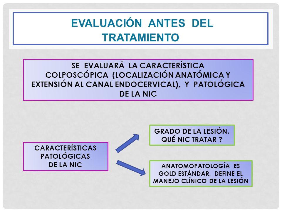 EVALUACIÓN ANTES DEL TRATAMIENTO SE EVALUARÁ LA CARACTERÍSTICA COLPOSCÓPICA (LOCALIZACIÓN ANATÓMICA Y EXTENSIÓN AL CANAL ENDOCERVICAL), Y PATOLÓGICA D